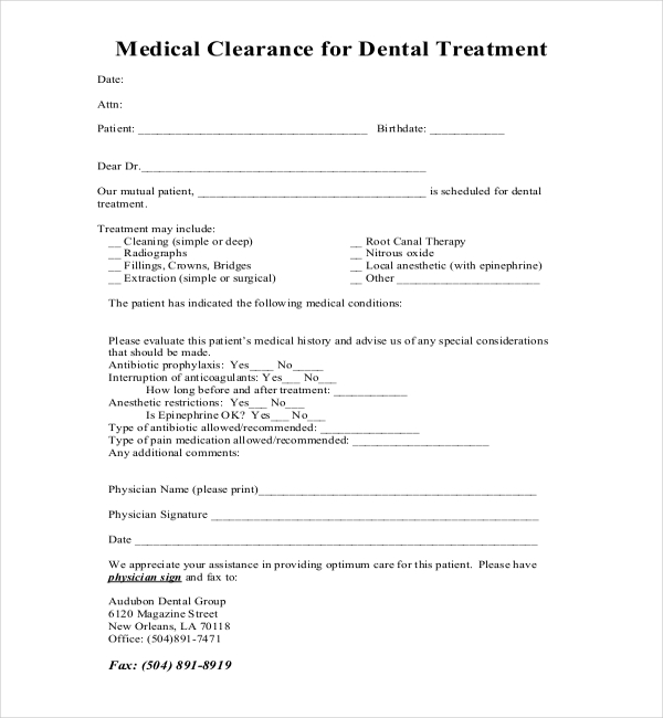 Medical History Form in Word and Pdf formats
