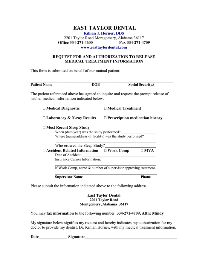 Medical Records Release Form for Sleep Apnea in Word and Pdf formats