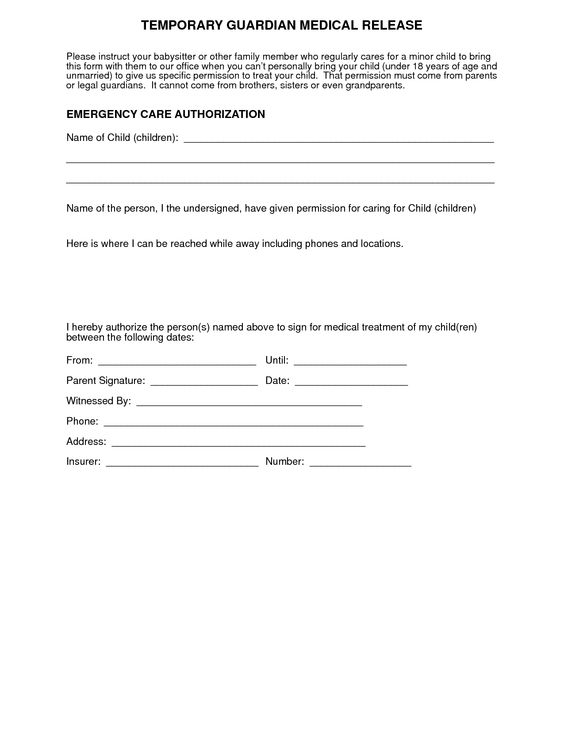Medical Consent Form For Grandparents Templates Free