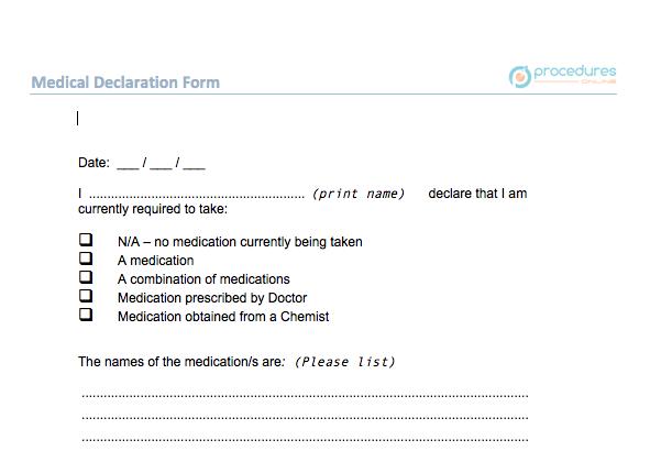 F HR 005 Medical Declaration Form – Procedures Online