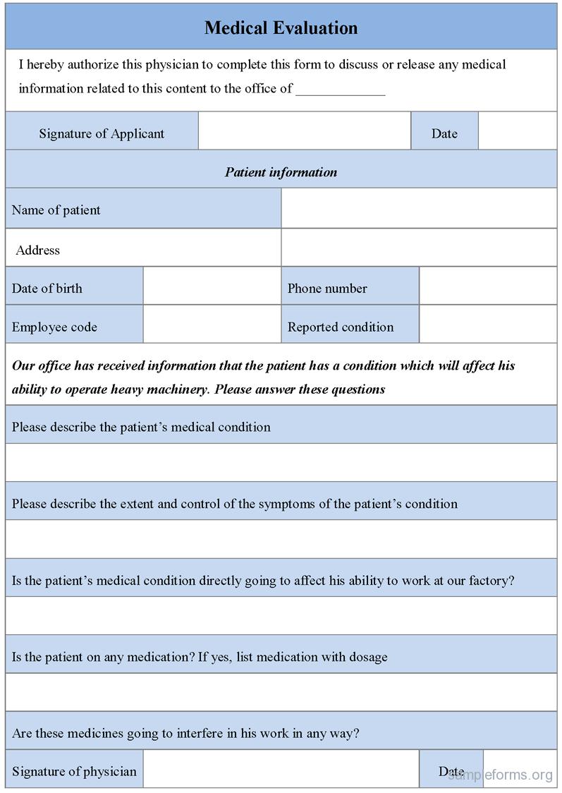 Medical Evaluation Form, Sample Medical Evaluation Form | Sample Forms