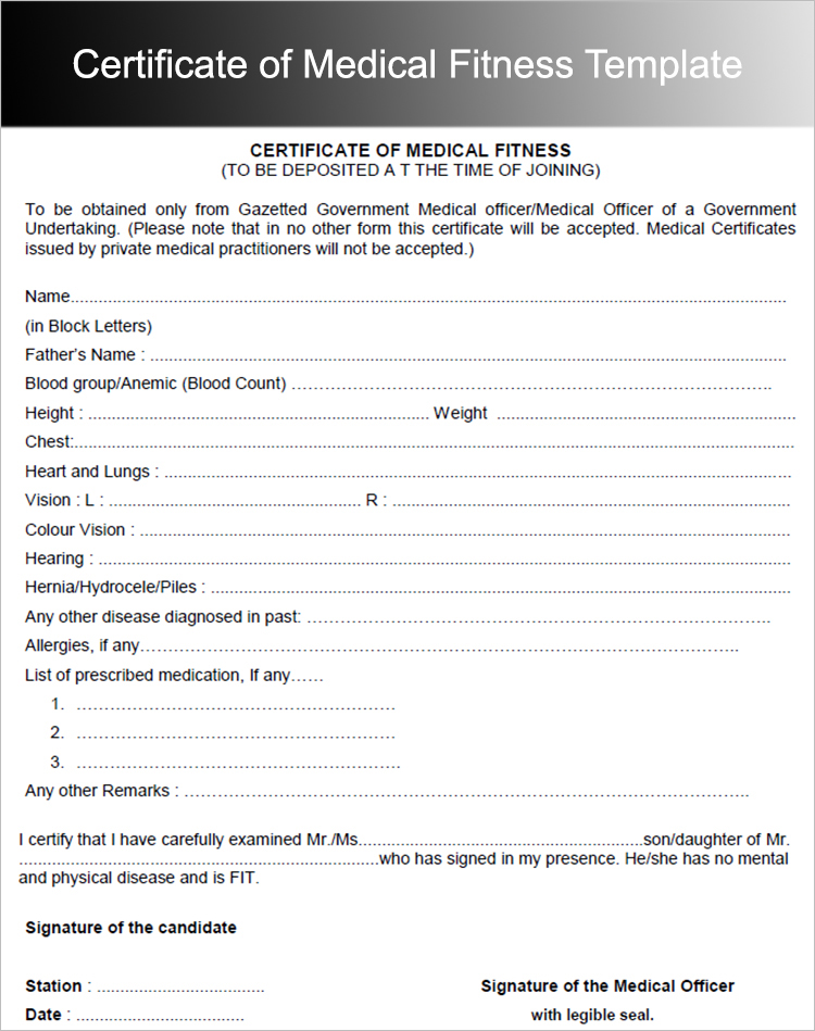 Medical Fitness Certificate Form Template Free | Sample Templates