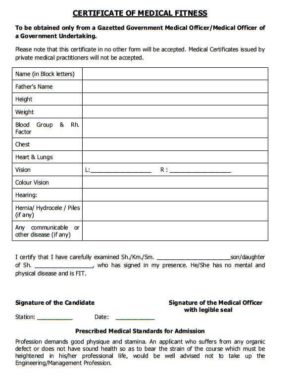 Medical fitness certificate sample for school admission gallery medical certificate format in doc image collections certificate medical fitness certificate format for students in india yadclub Gallery