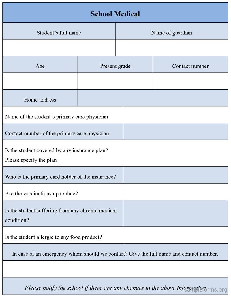School medical form, sample School medical form | Sample Forms