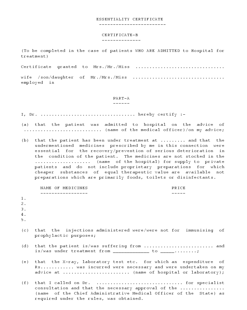 Medical Essential Certificate