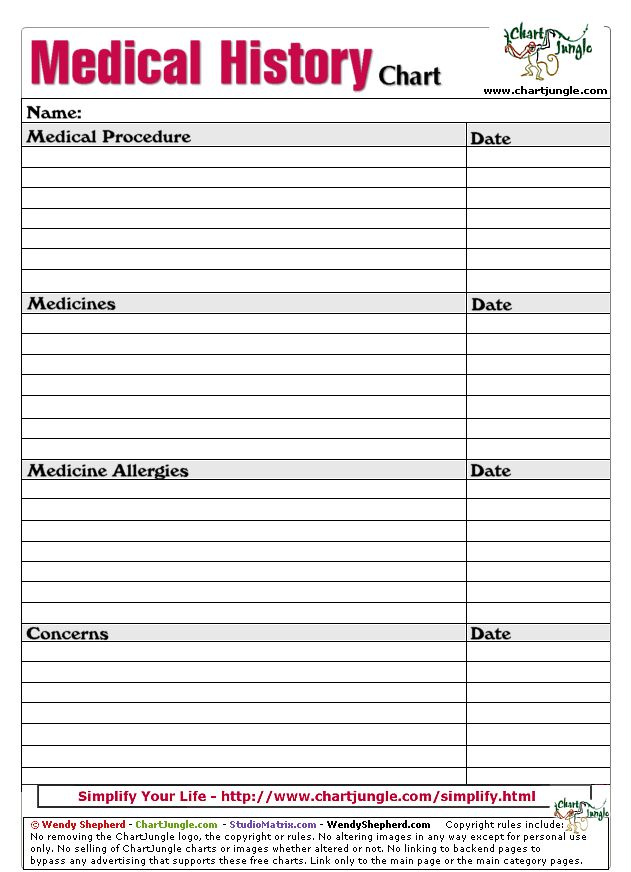 medical history form printable