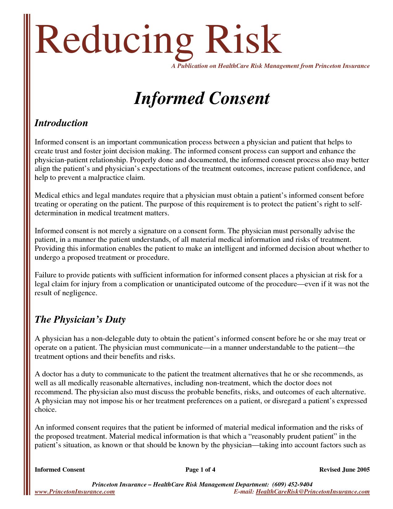 Best Photos of Sample Medical Informed Consent Medical Informed