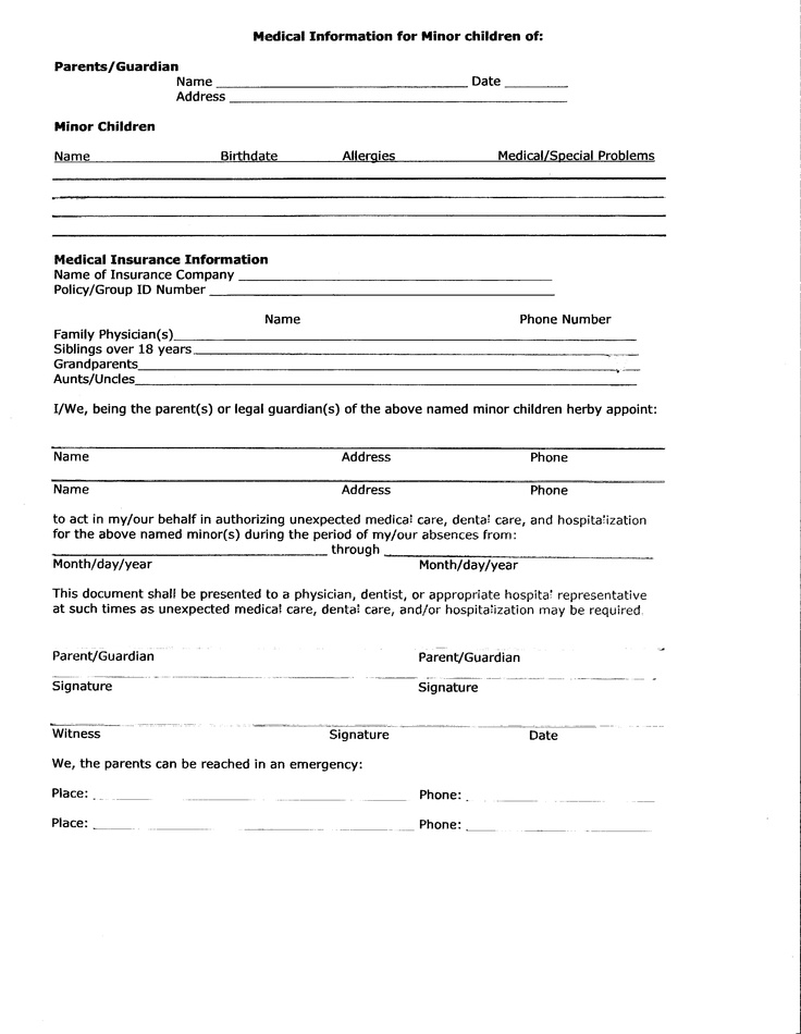 Simplicity image in free printable medical consent form for minor child
