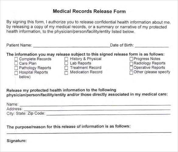 7+ blank medical records release form | Memo Formats