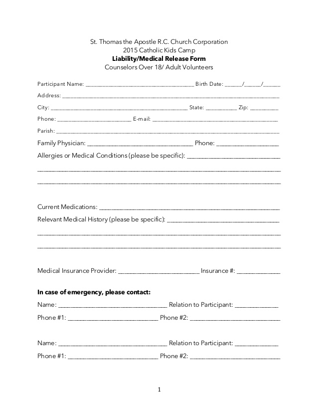 Summer Programs & Camps Medical Release Form Adult