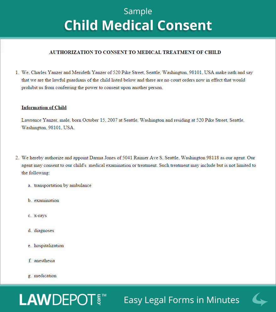 Child Medical Consent Form | Free Medical Authorization Form for
