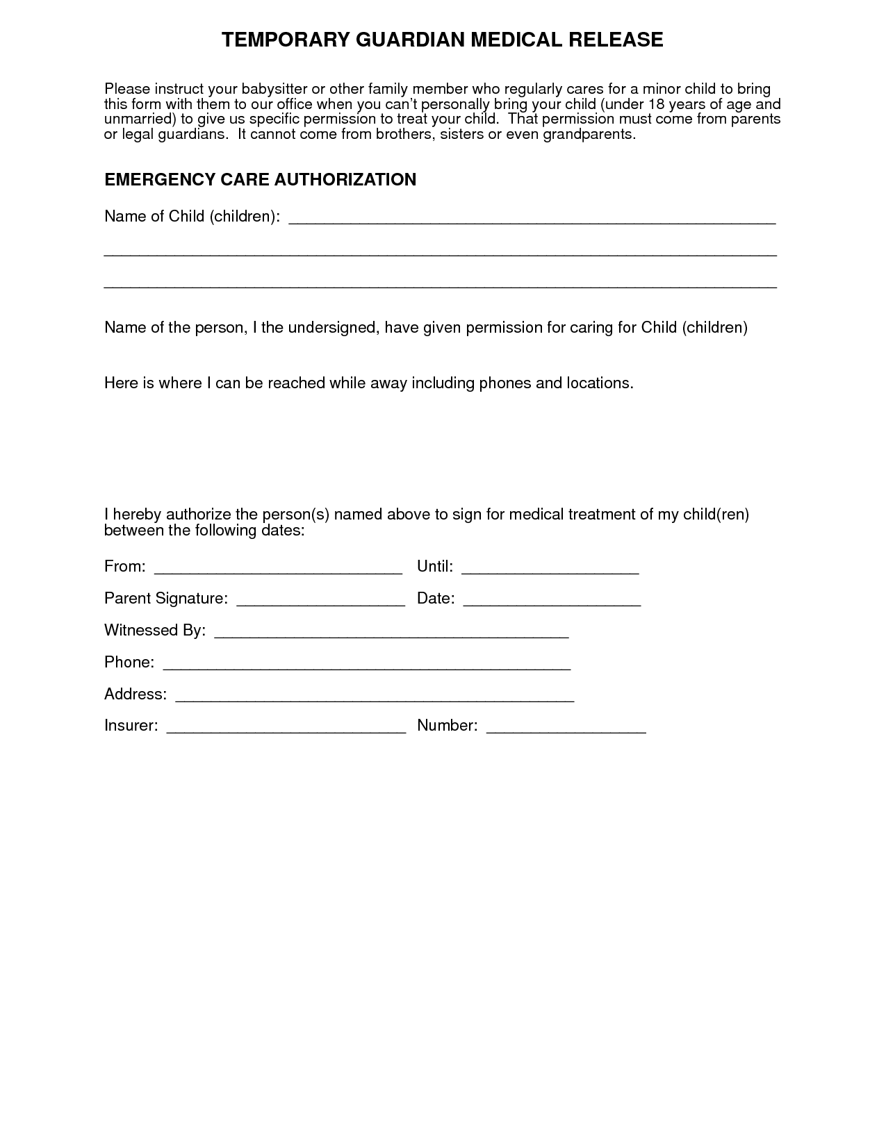 free emergency medical release forms for children
