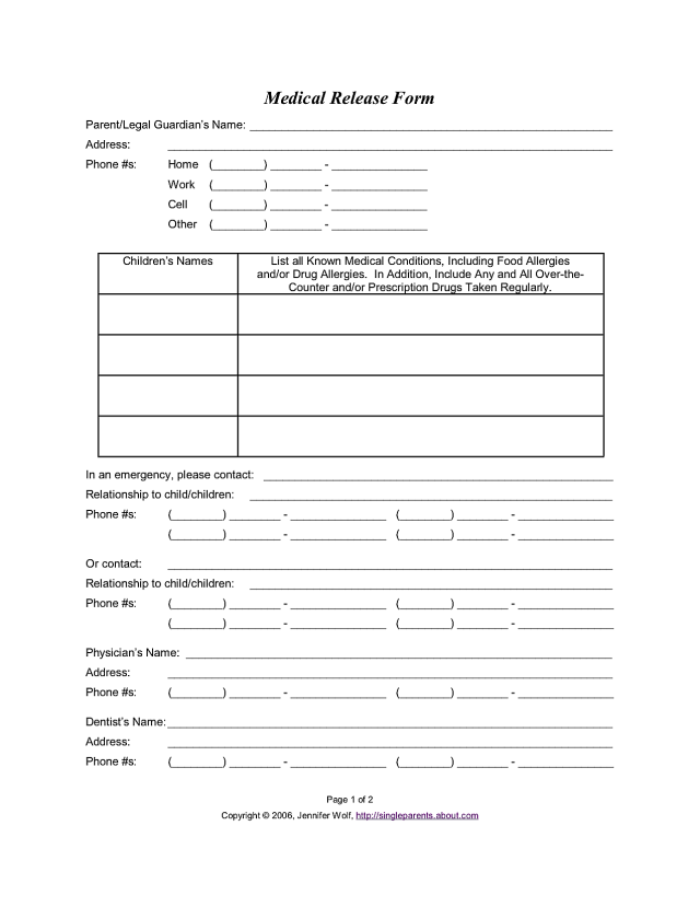 Printable Consent Treatment Minor Child