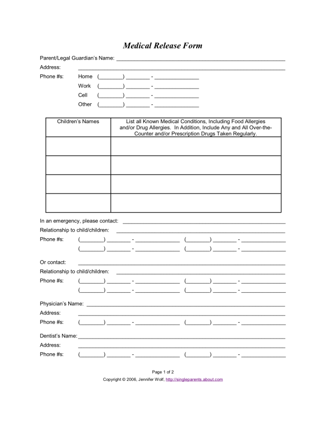 Child Medical Release Form Parental Authorization for Minor