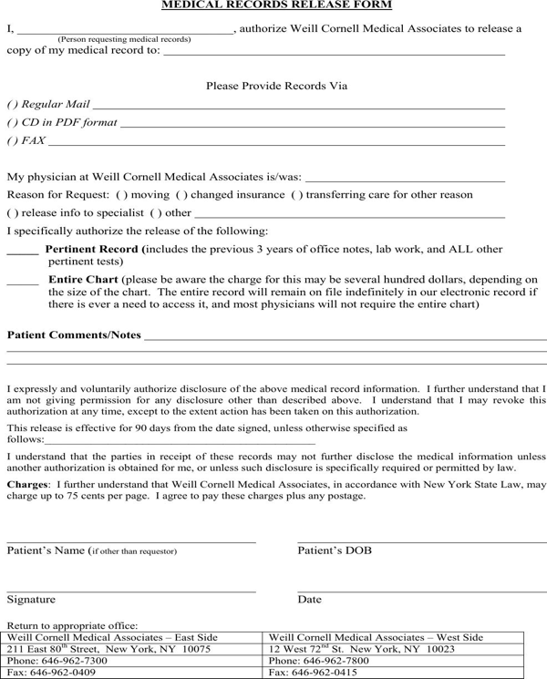 medical release form ny