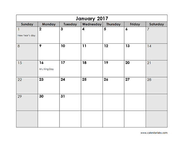 Free 2017 Monthly Calendar Template