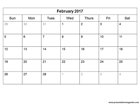 2017 Monthly Calendar Free Printable Templates