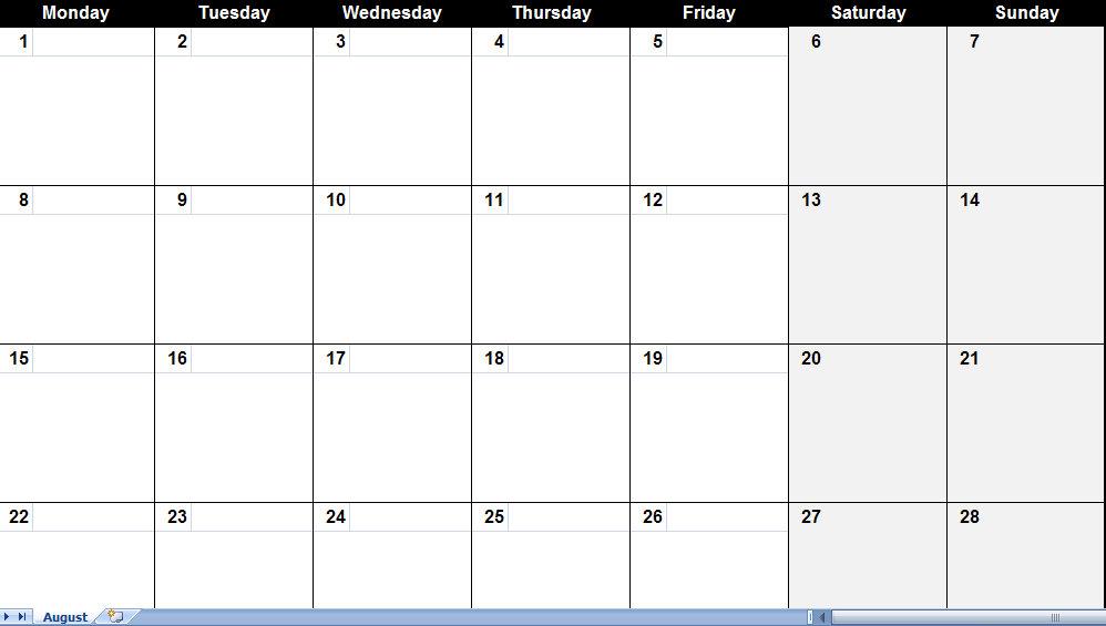 Monthly Calendar Template | weekly calendar template