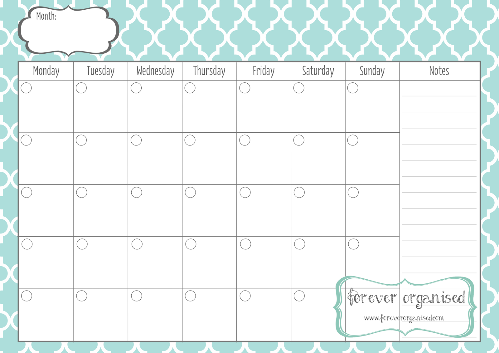 Monthly Calendar Print Out | monthly calendar printable