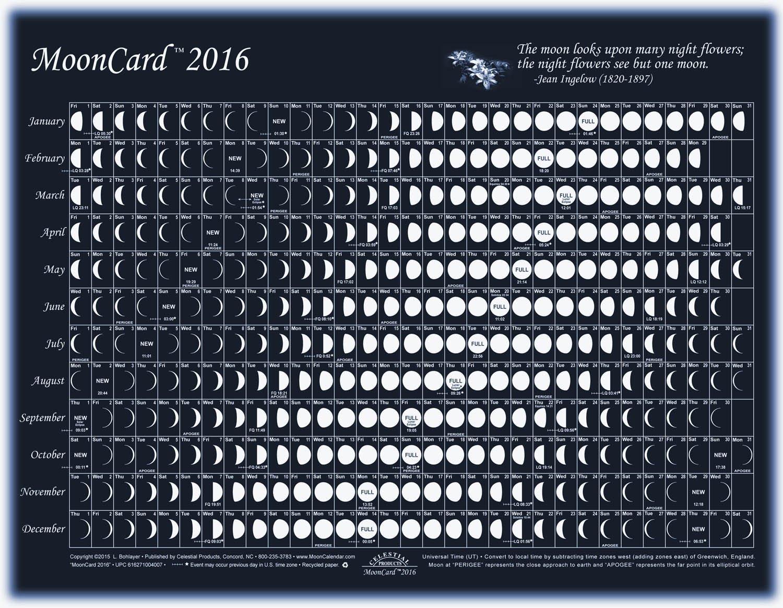 February 2017 calendar with moon