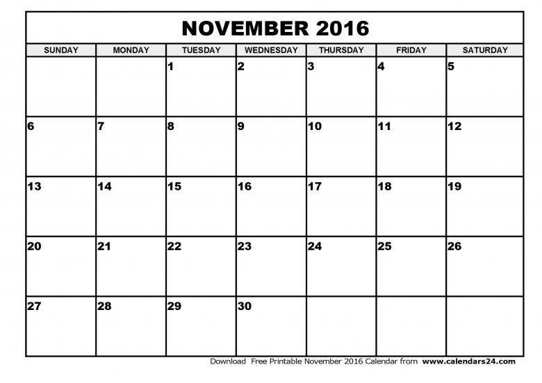 November 2016 Calendar Canada