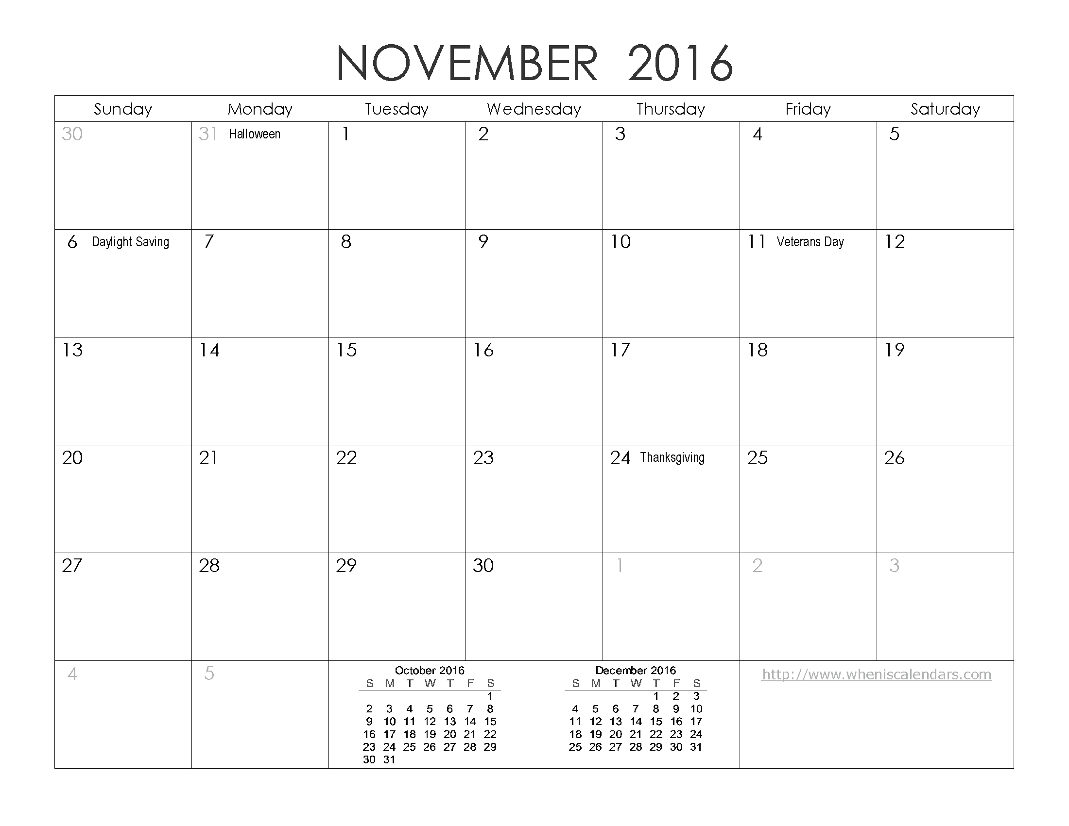 November 2016 Calendar Excel | 2017 calendar with holidays