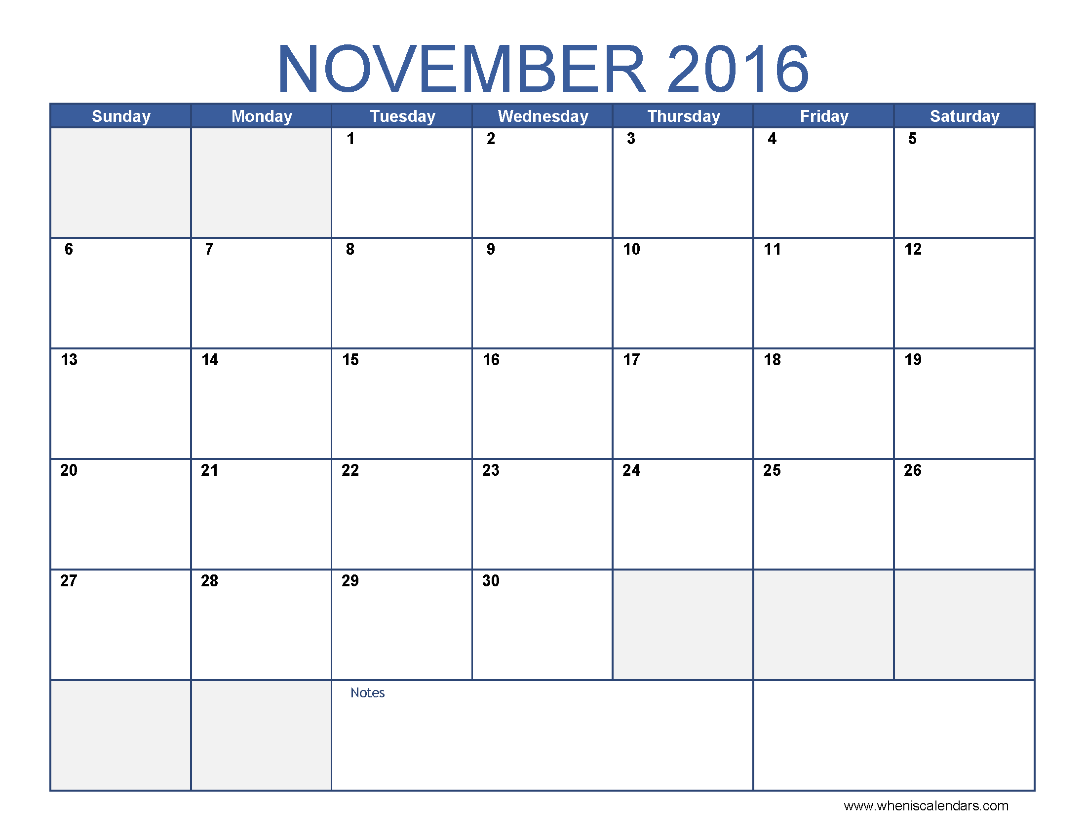 November 2016 Calendar Excel | monthly calendar printable