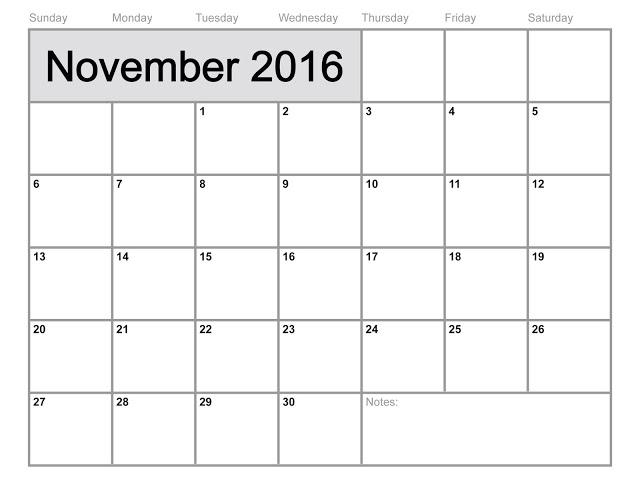 Get Printable Calendar : November 2016 Printable Calendar PDF