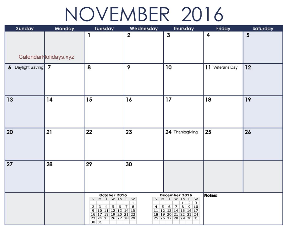 November 2016 Excel Calendar #November2016 #ExcelCalendar