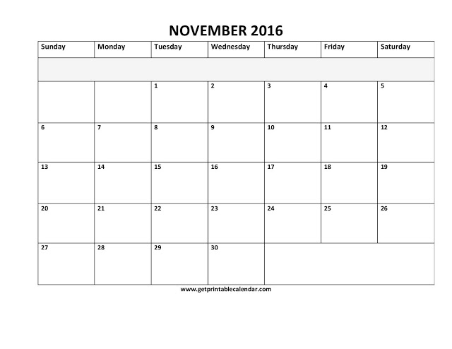 Printable Calendar 2016: November 2016 Calendar PDF | Excel | Word