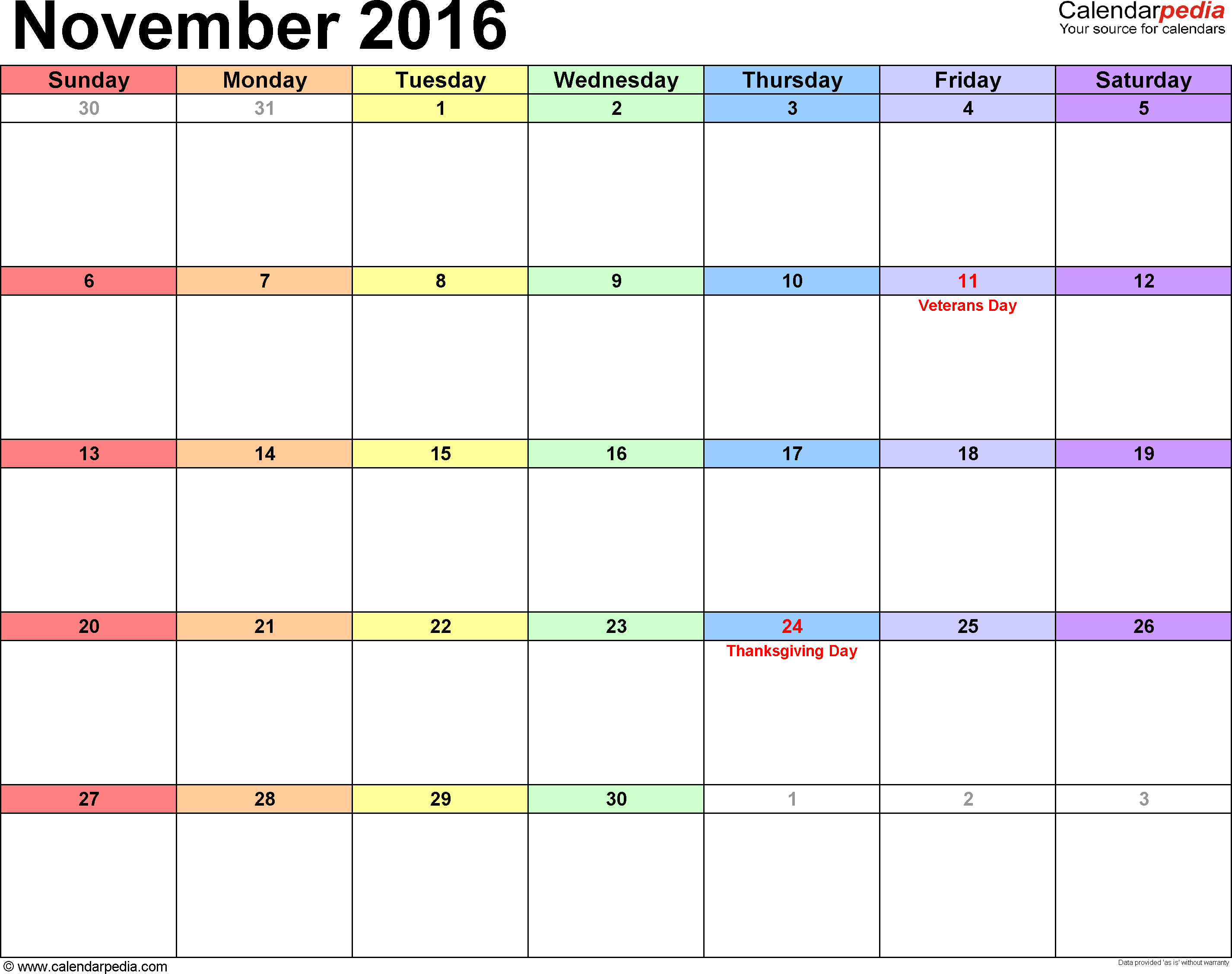 November 2016 Calendars for Word, Excel & PDF