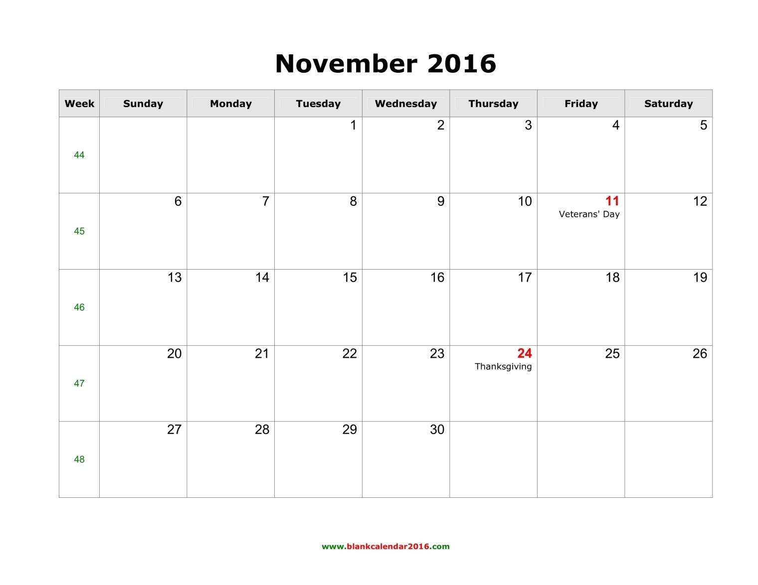 Blank Calendar for November 2016