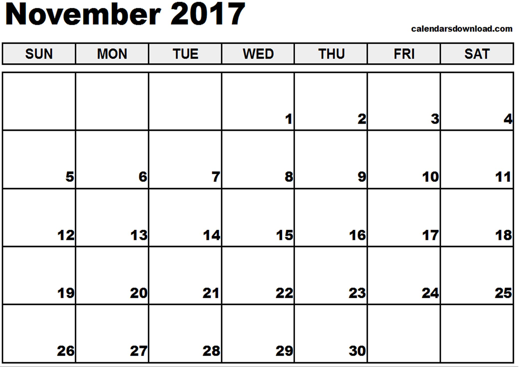 November 2017 Calendar Canada | monthly calendar printable