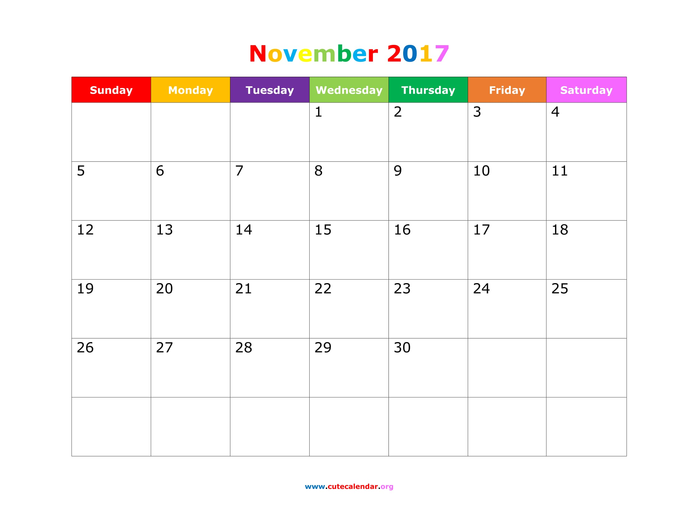 cute november 2017 calendar