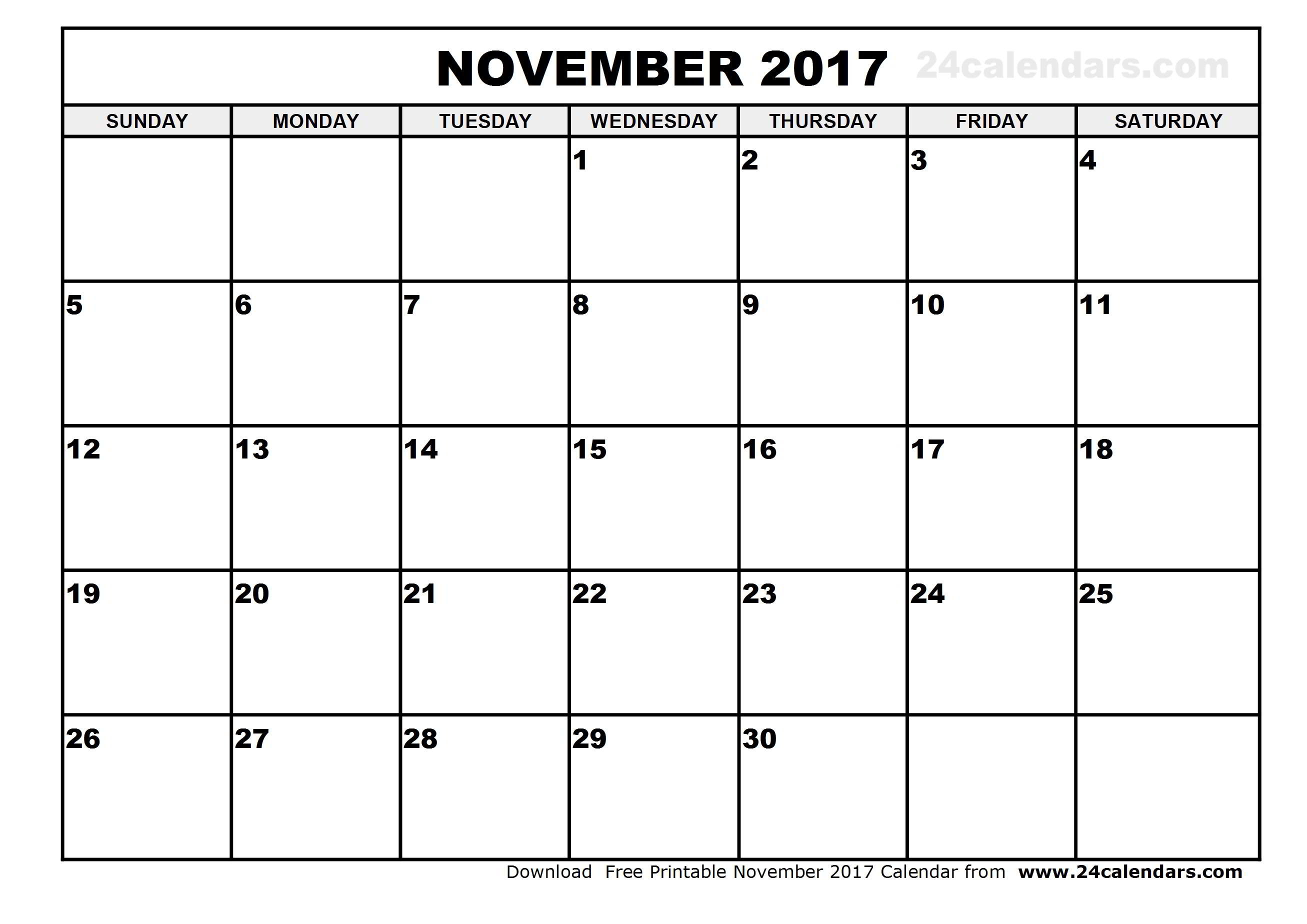 November 2017 Calendar Printable
