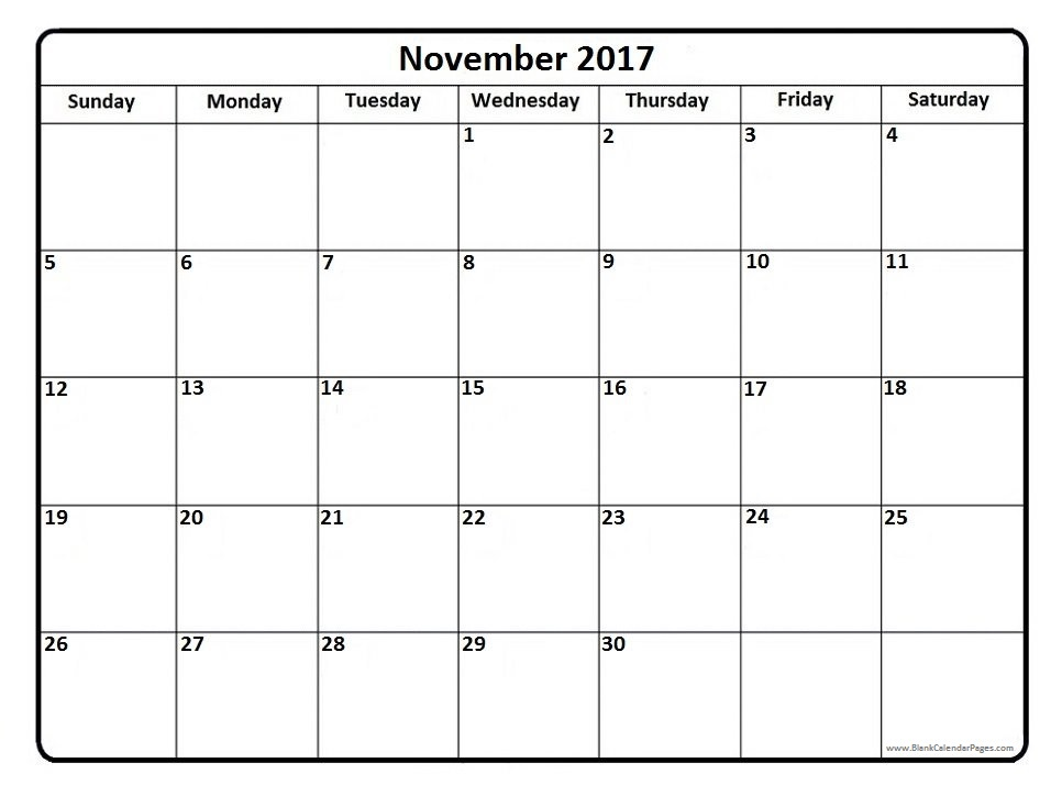 November 2017 Calendar | weekly calendar template