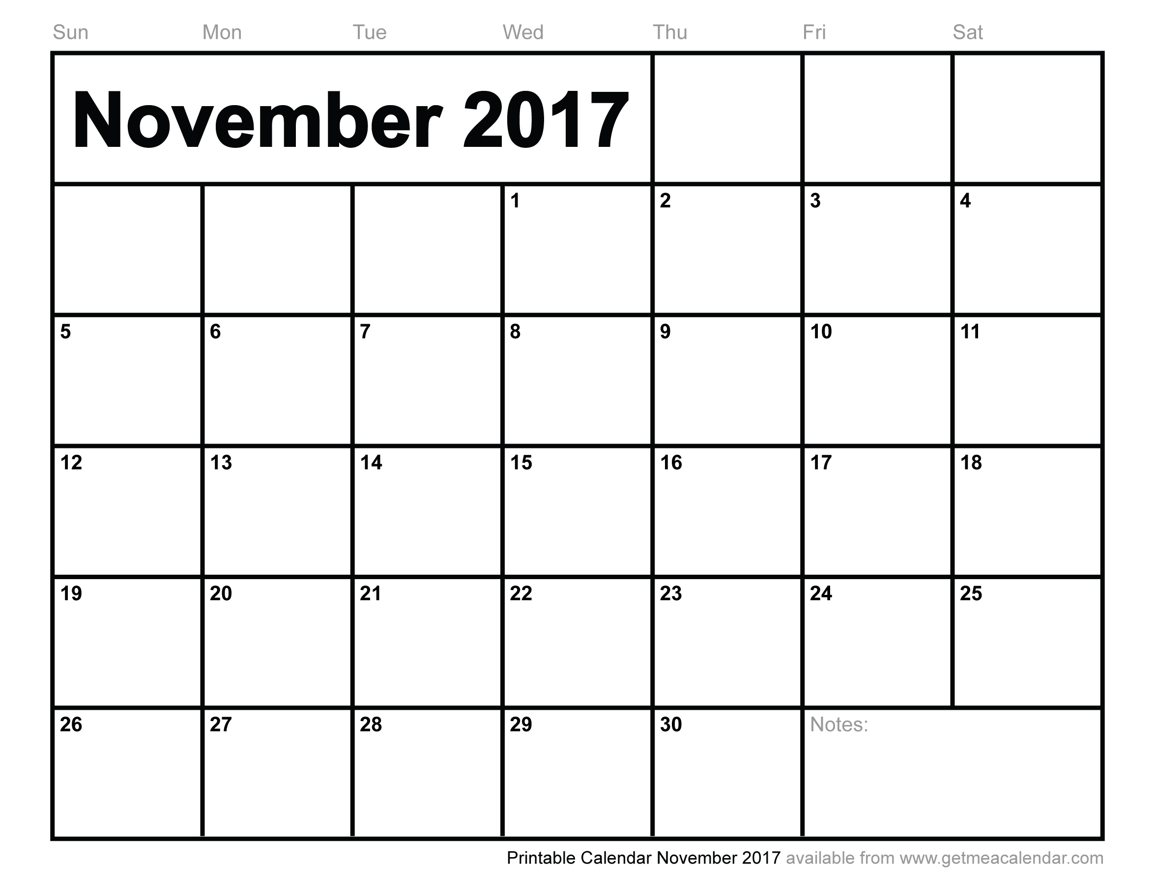 November 2017 Calendar Excel | weekly calendar template