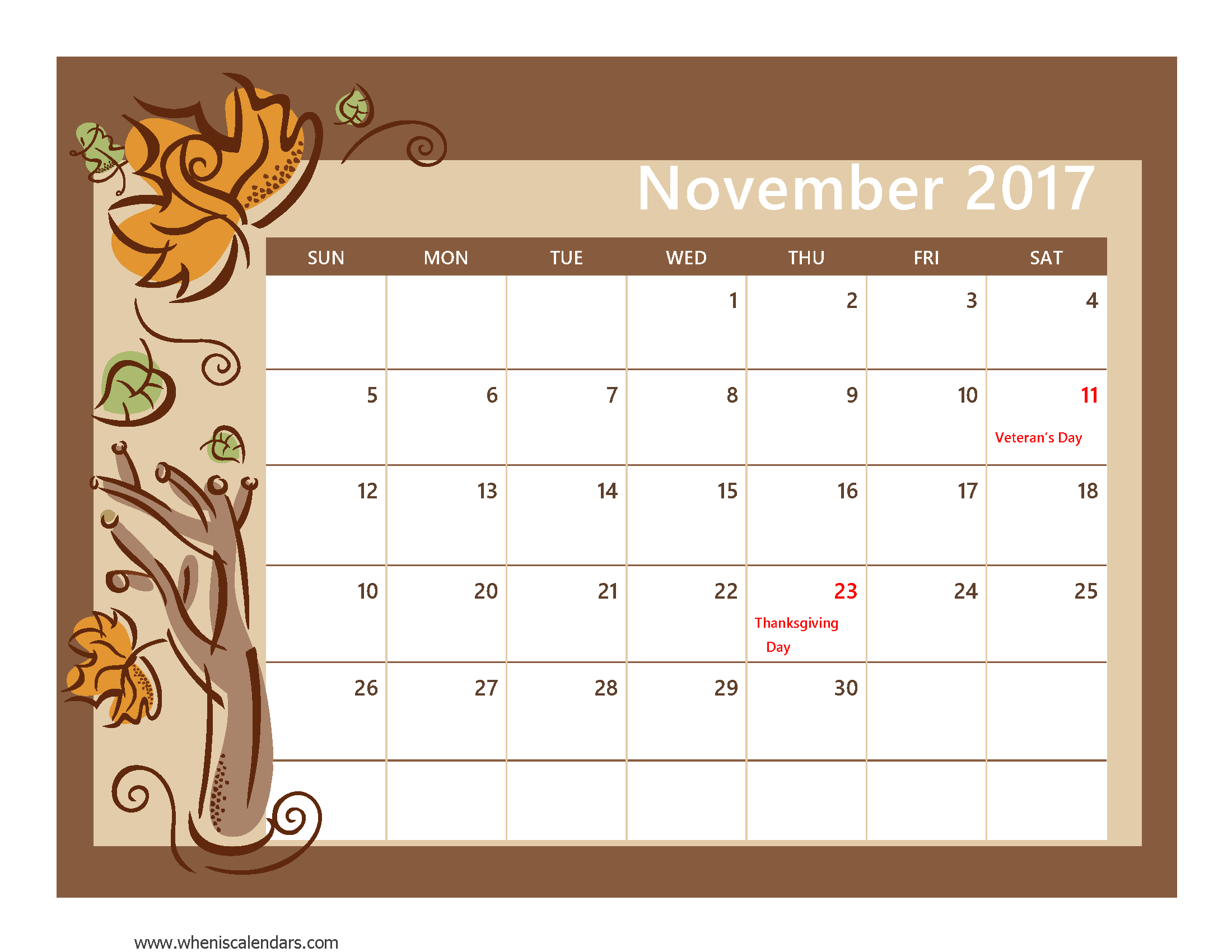 November 2017 Calendar With Holidays | weekly calendar template