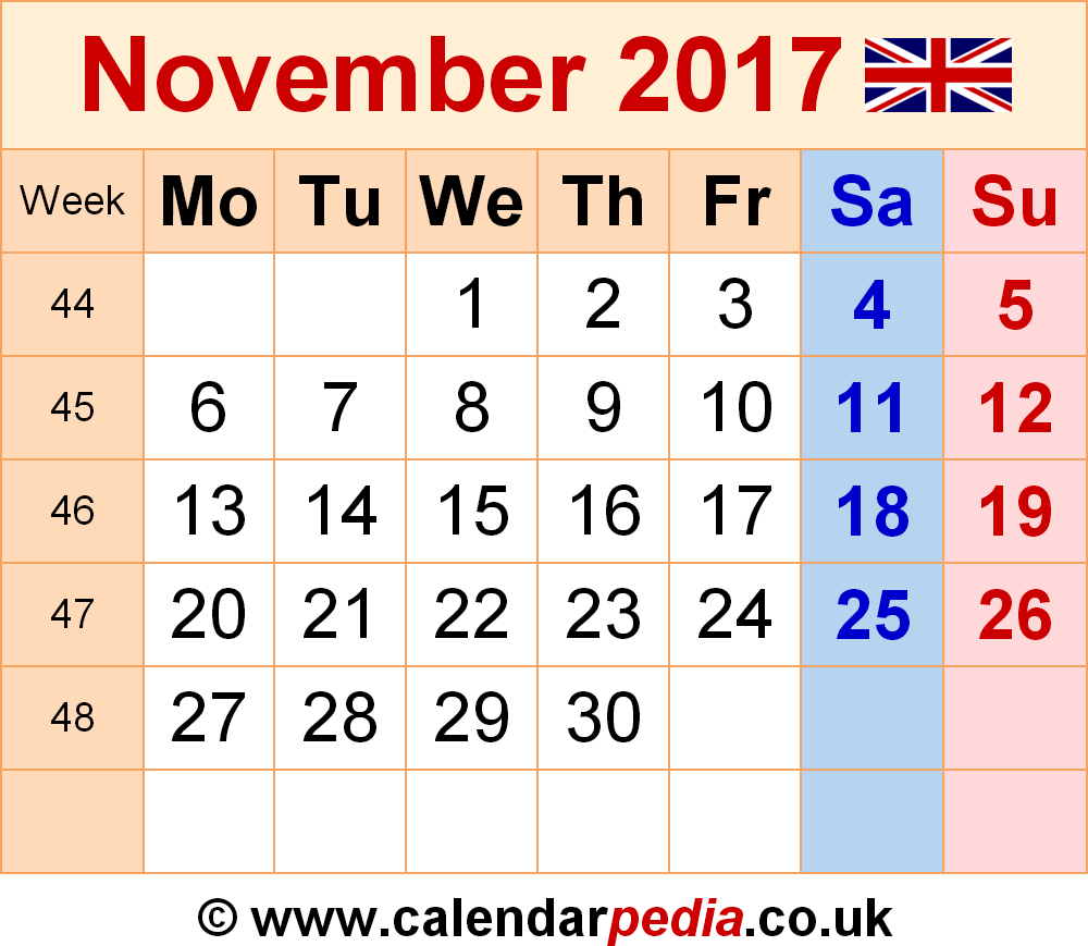 Calendar November 2017 UK, Bank Holidays, Excel/PDF/Word Templates