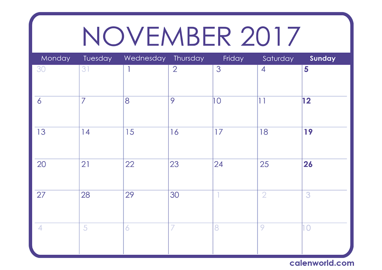 November 2017 Calendar Uk | yearly calendar printable