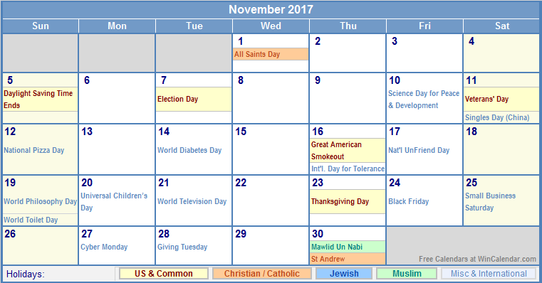 November 2017 Calendar With Holidays Uk | blank calendar printable
