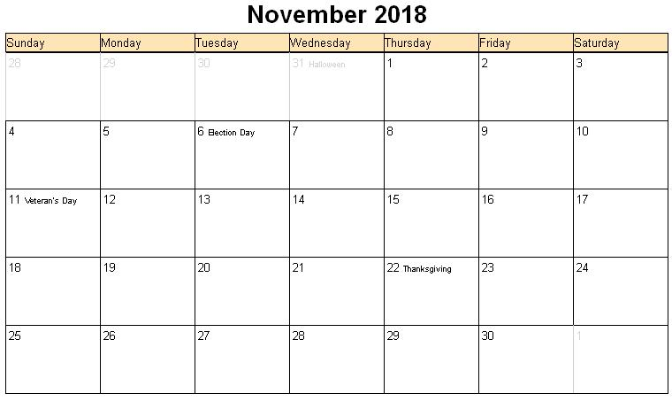 November 2018 Calendar | 2017 calendar with holidays