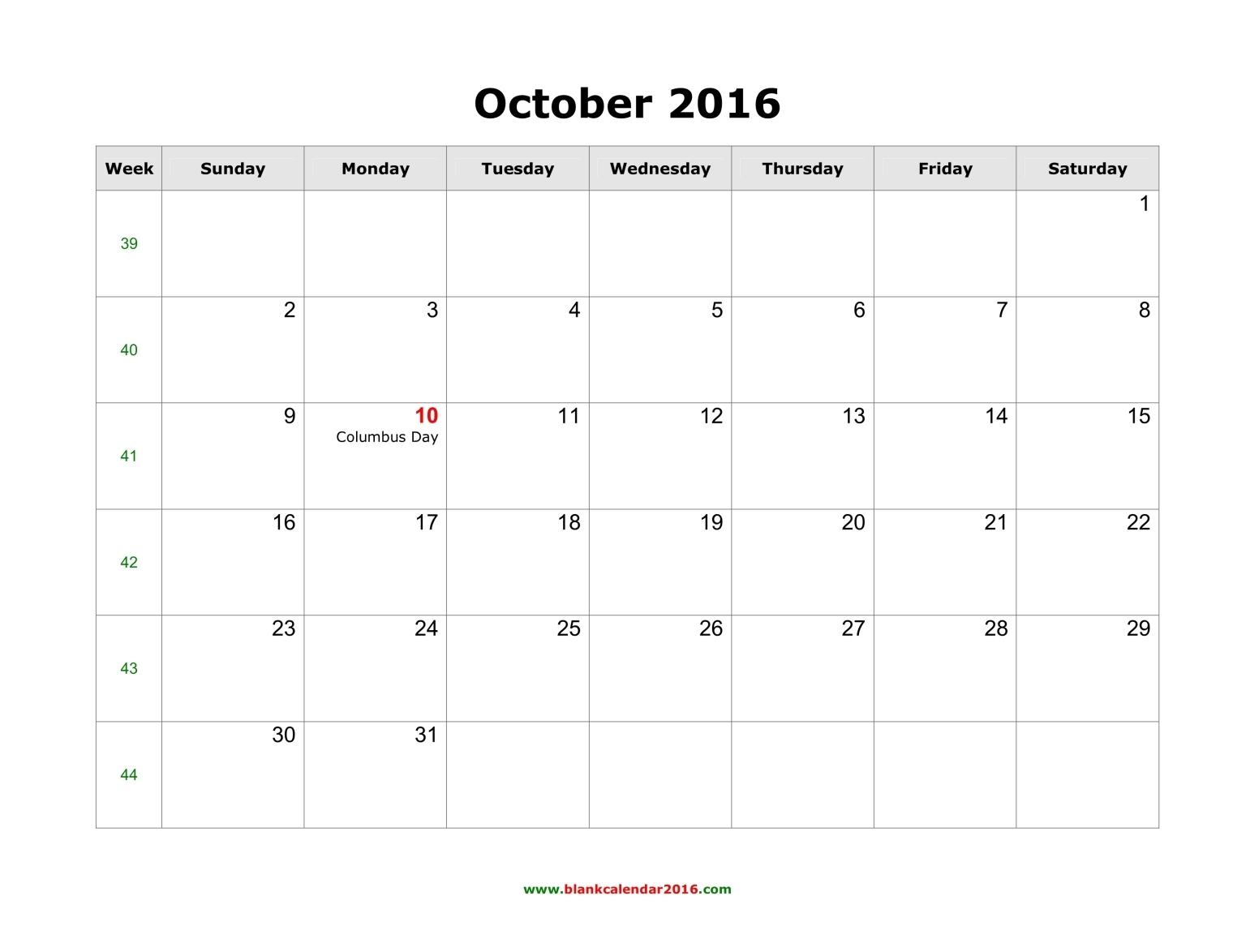 Blank Calendar for October 2016