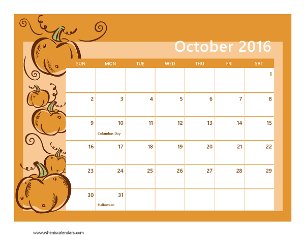 October 2016 Calendar Printable With Holidays | yearly calendar