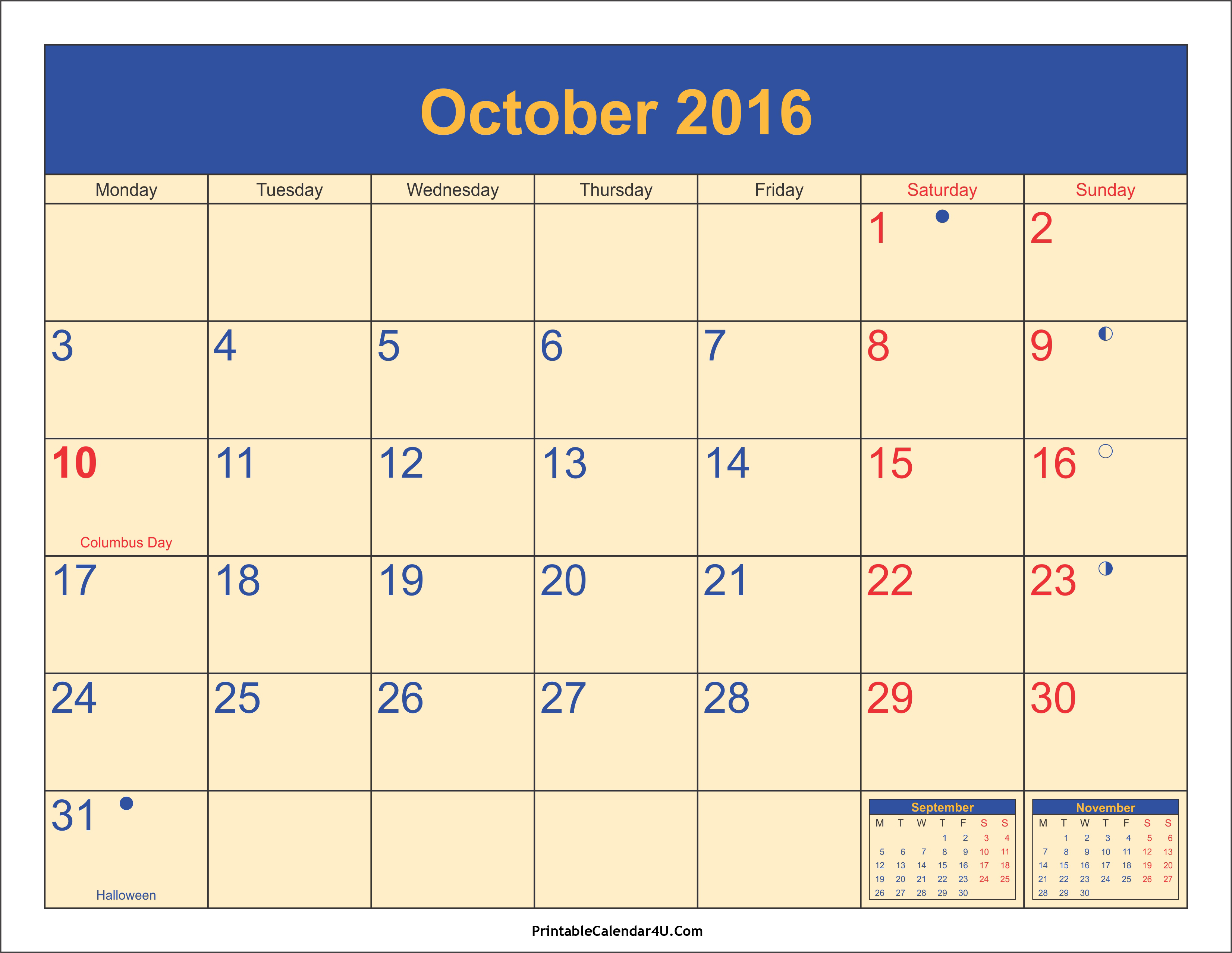 October 2016 Calendar Printable with Holidays PDF and