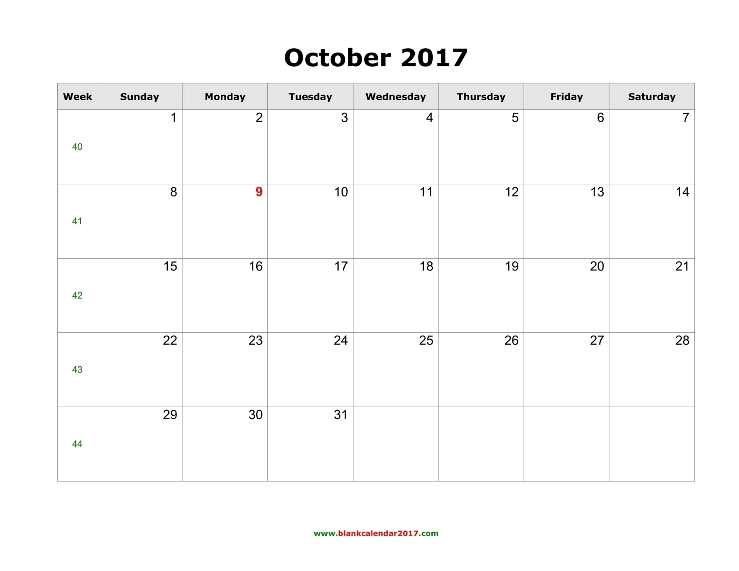October 2017 Calendar Canada | monthly calendar printable