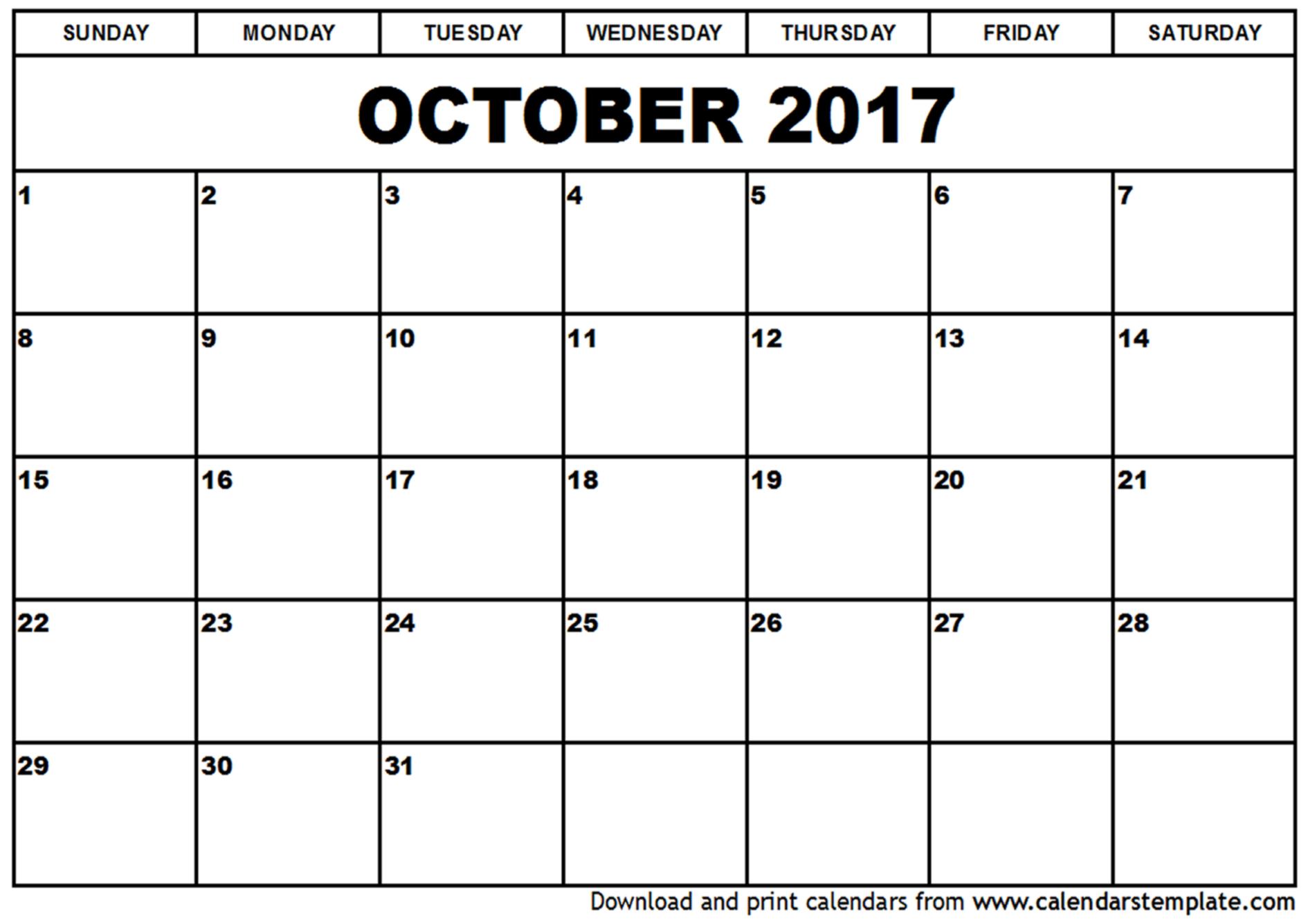 October 2017 Calendar Cute | weekly calendar template