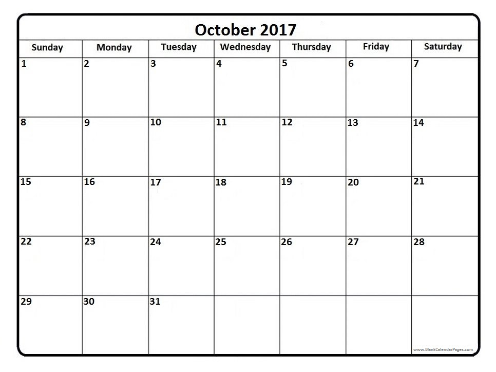 October 2017 Calendar | printable calendar templates