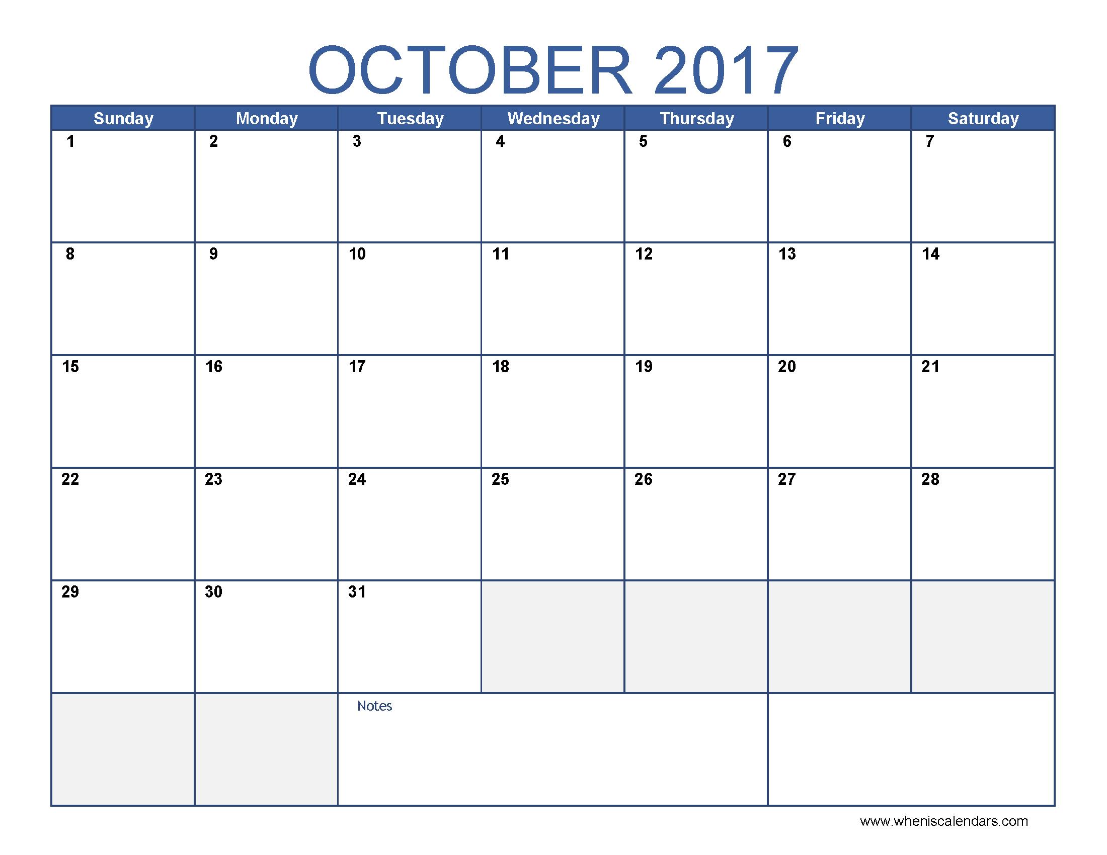 October 2017 Calendar Template | free calendar 2017