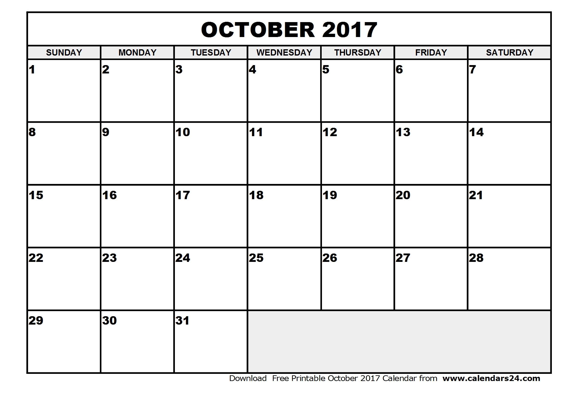 October 2017 Calendar Template | weekly calendar template